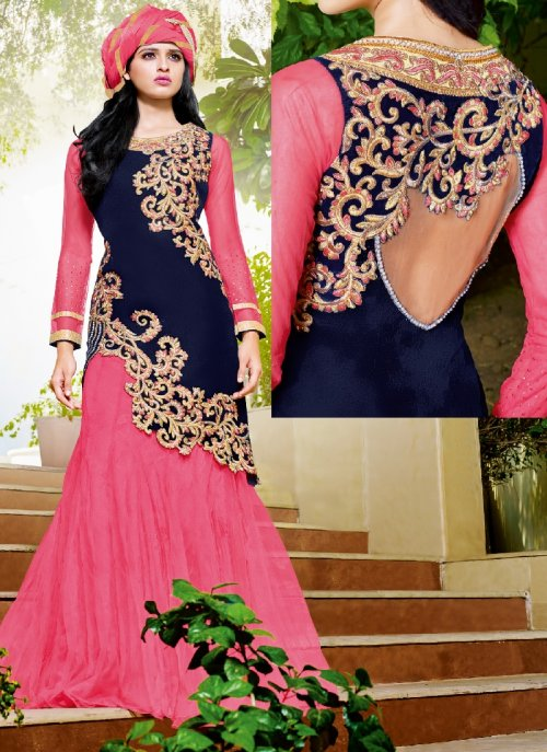 Navy & Pink Semi Stitched Embroidered Suit LACA 22D