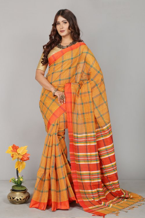 Gamcha Check Cotton Saree for Woman