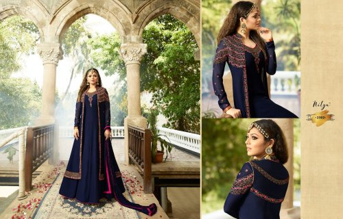 navy blue un-stitched georgette with embroidery salwae suit