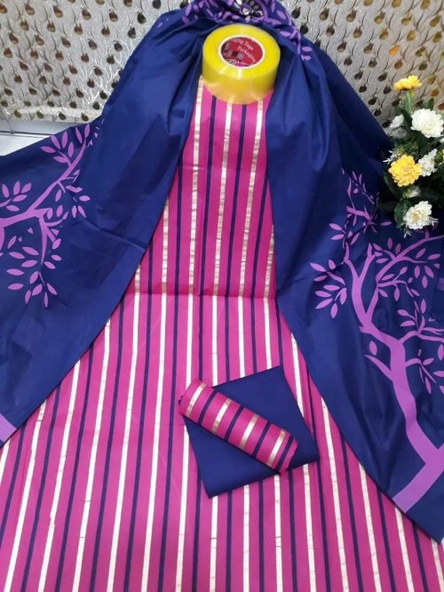 Latest Pink and Dark Blue Skin Printed 3 pieces lwar Kameez for Women