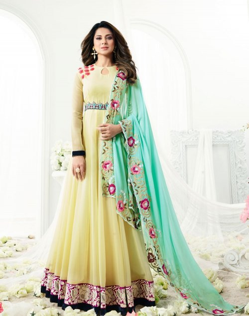 Jennifer Winget Georgette Anarkali Suit