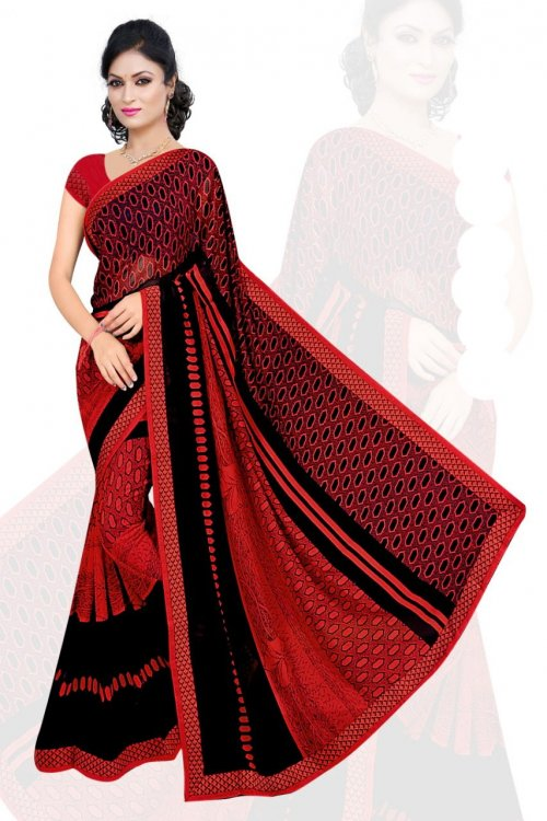 Indian Red And Black Silk Printed saree For women