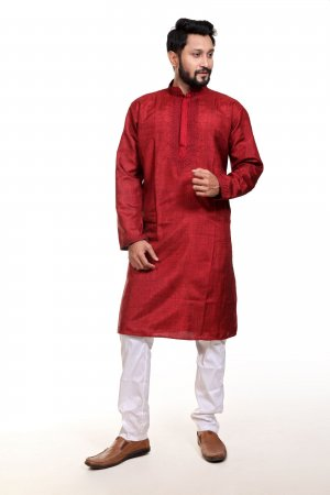 Indian Cotton Panjabi For Eid - Royal Red Neck Embroidery Work