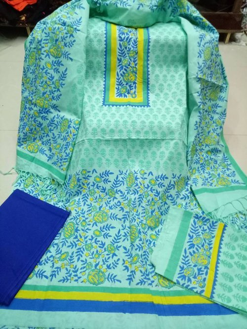unstiched block printed cotton replica three pcs salwar kameez seblock-535