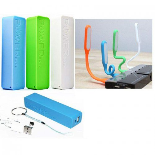 Combo Offer of Power Bank 2600 mAh External Battery Charger With Free LED Light