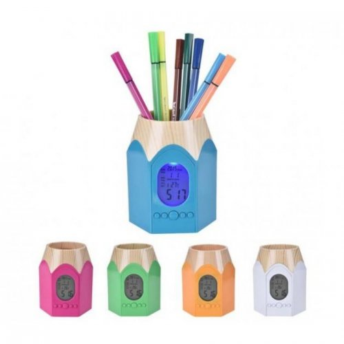 Pencil Shape Holder with Alarm Clock