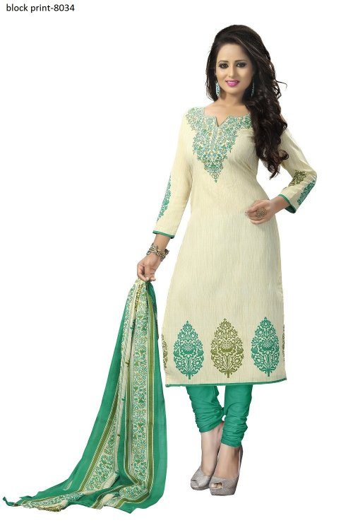 Unstiched block printed cotton replica salwar kameez seblock-8034