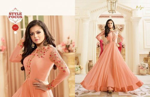 Green unstiched Three Piece Gown Vol106-1608 soft georgette salwar kameez