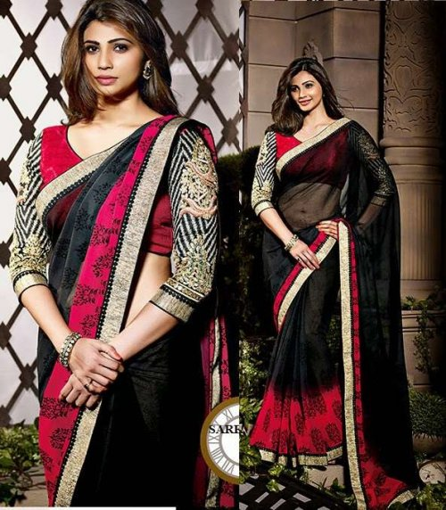 Black and Pink shaded Daisy Designer saree sharee with embroidered blouse