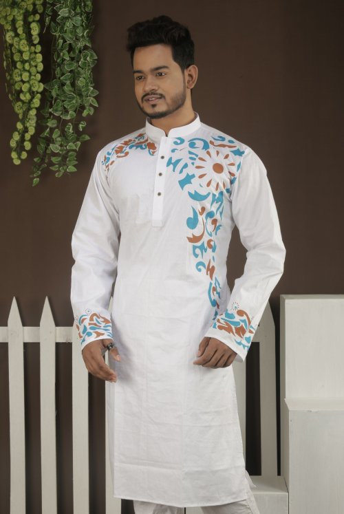 Cotton Panjabi - White With Sky Blue And Brown Color Design