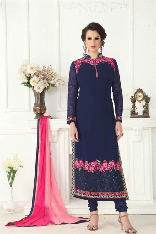 Faux Georgette Navy Blue Churidar Designer Suit Sub-5225