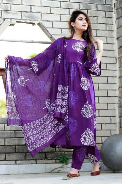 Latest Violet Block Printed Salwar Kameez For Women-free size