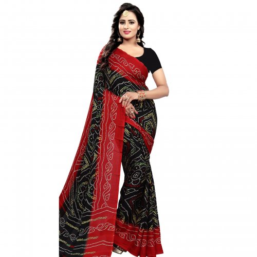 Eid sprcial black and red chundri silk saree sg-087