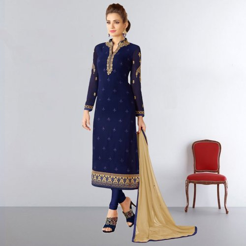 navy blue Georgette with embroidery work salwar kameez
