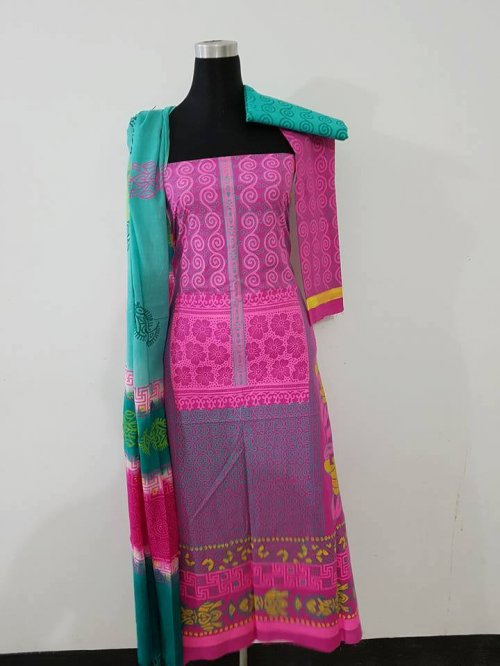 unstiched block printed cotton replica three pcs salwar kameez seblock-549