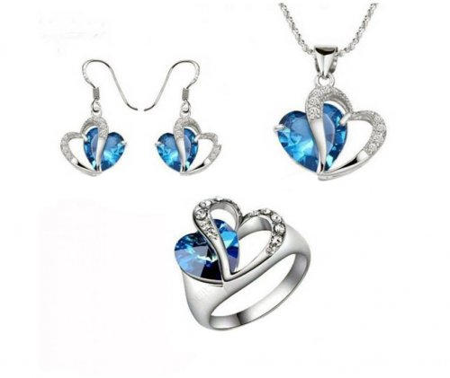 3 in 1 crystal jewelry set