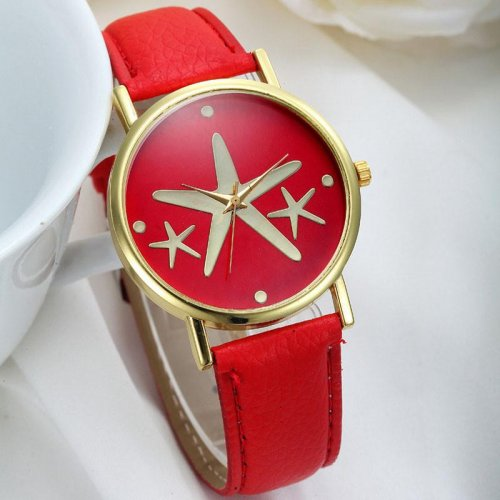 Watch for women Five-Pointed Star Style Leather Band Analog Quartz Wrist Watch Red