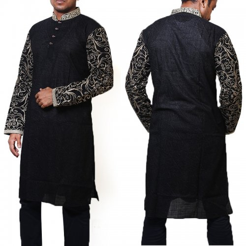 Cotton Semi Long Black Panjabi for men