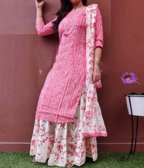 Latest Light Pink Block And White Printed Salwar Kameez For Women-free size