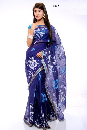 Boishakhi Cotton kota handprint Saree Bois-5
