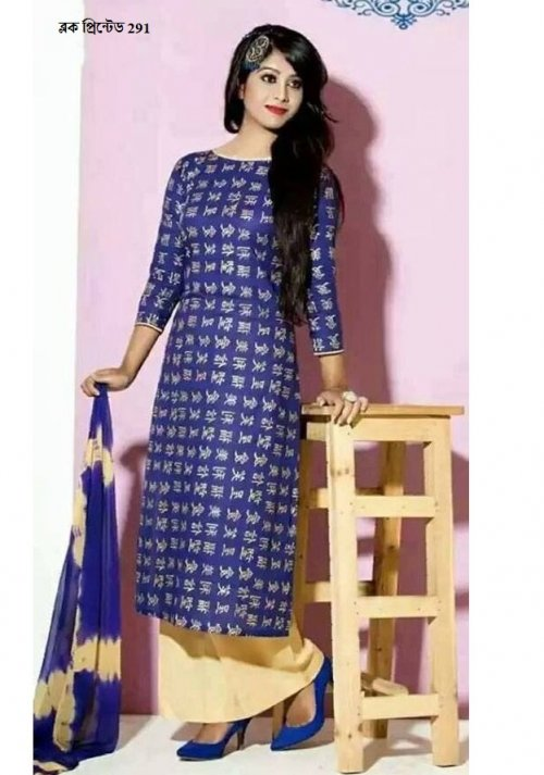 unstiched block printed cotton replica three pcs salwar kameez seblock-291