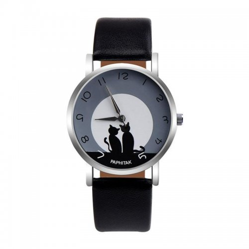 PAPHITAK Womens Cute Cat Faux Leather Analog Quartz Watch