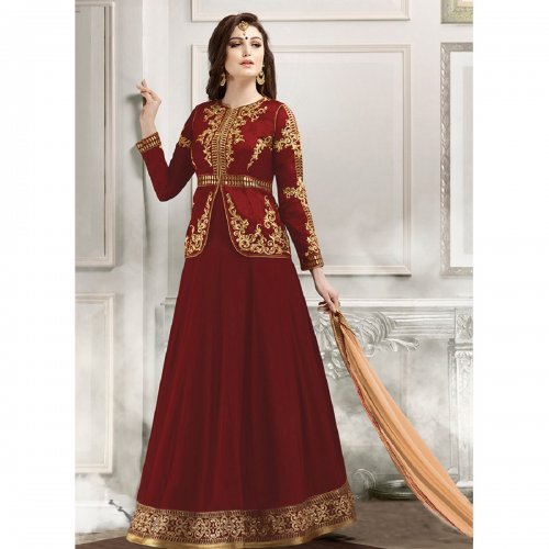 Maroon Embroidered Georgette Anarkali Suit Gulzar-1803