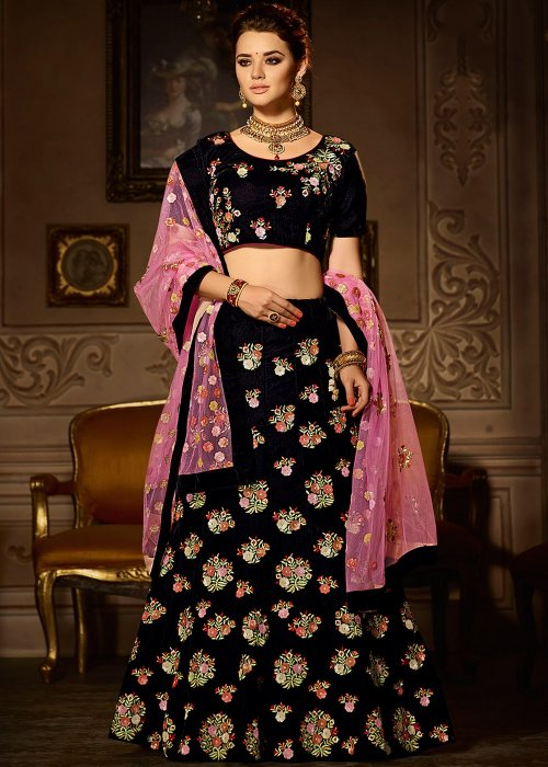 FASHIONABLE black COLOR DESIGNER with embroidery LEHENGA CHOLI surbhi 034