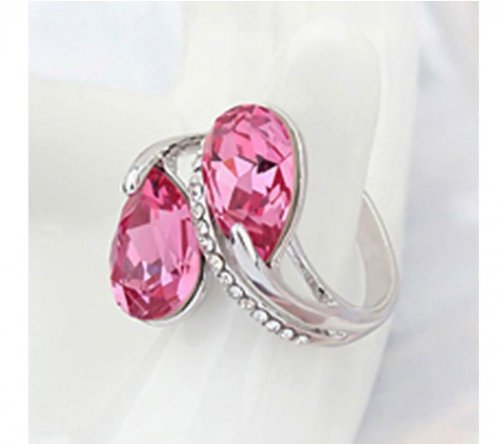 silver color pink stone ring