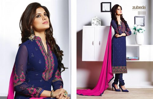 zubeda by roshni beautiful stylish designer embroidered party wear georgette dresses ZUBEDA 12103D