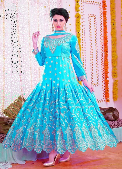 ed7e8eeaba unstitched georgette with Embroidery anarkali Salwar suit