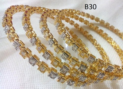 Gold Plated jewelry ornaments Diamond Bangles B-30 (4 pcs)