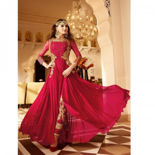 Embroidered Georgette and Net Abaya Style Suit in Red Abaya-101