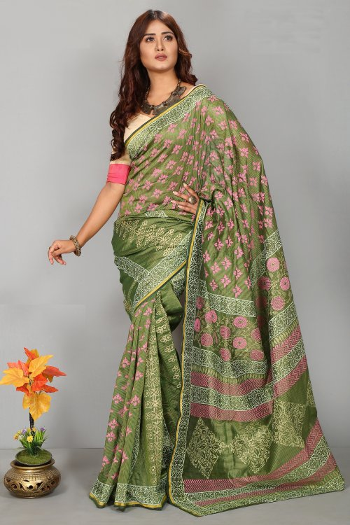 Tissue Silk Butics Saree for Woman