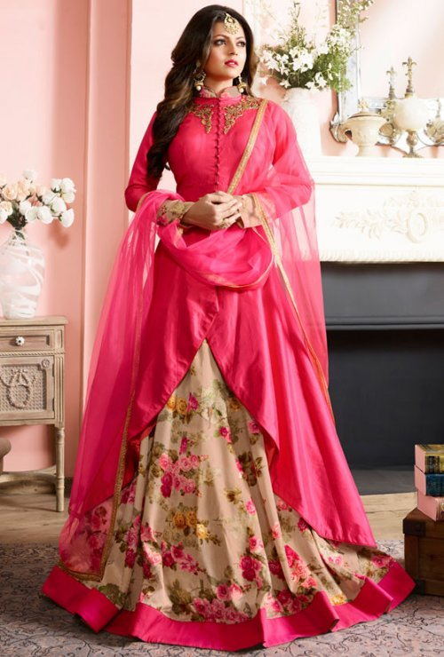 Gorgeious Designer Wedding And party Wear Floor Touch Silk Long Sleeve Anarkali Suits