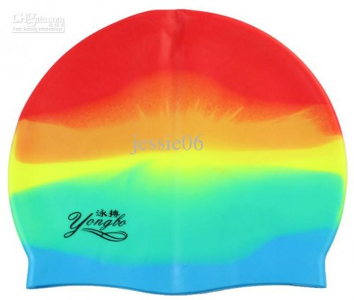 Rainbow Color Swimming Cap