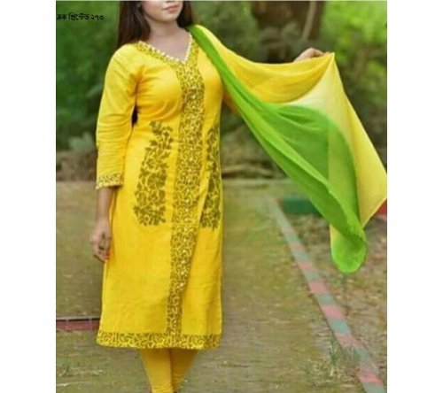 unstiched block printed cotton replica three pcs salwar kameez seblock-273