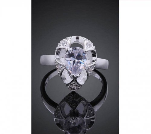 white color stone ring