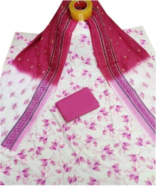 Latest white and pink Skin Printed 3 piece Salwar Kameez for Women