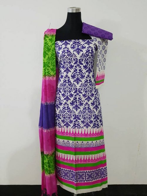 unstiched block printed cotton replica three pcs salwar kameez seblock-556