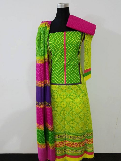 unstiched block printed cotton replica three pcs salwar kameez seblock-559