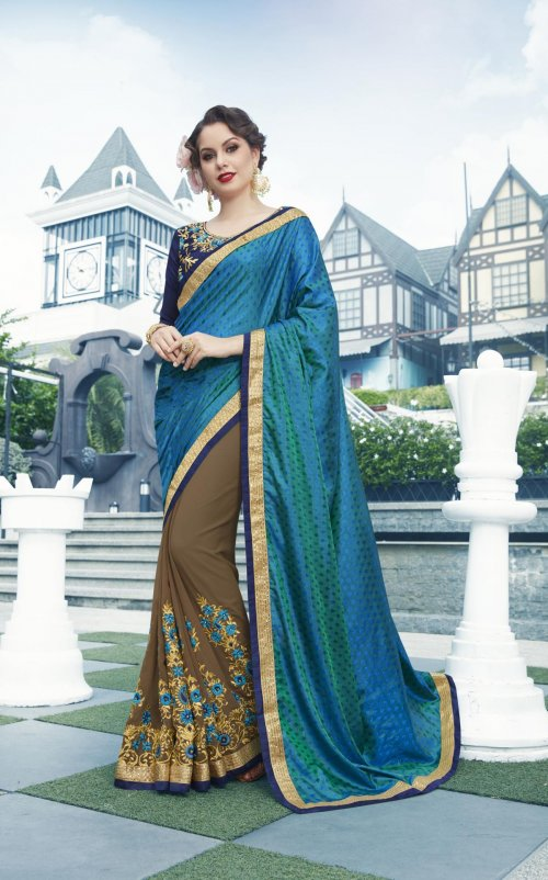 Georgette and embroidery work saree nsc-712