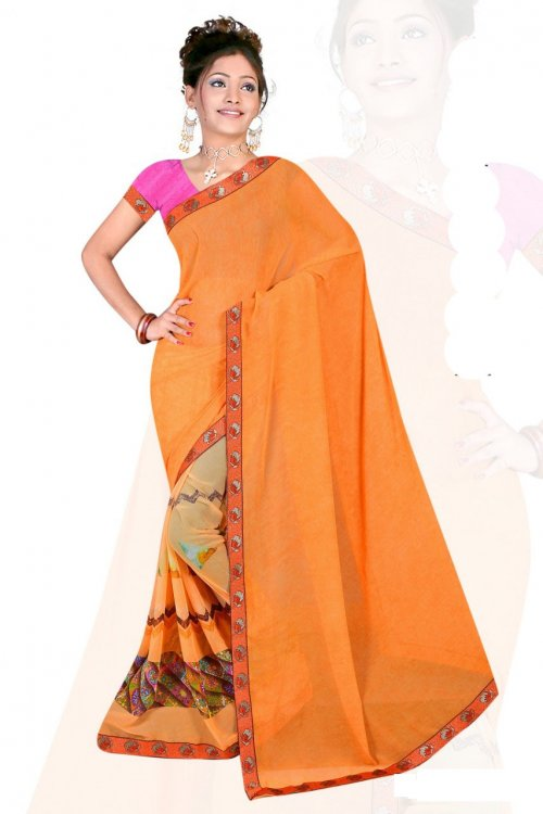 Indian Orange Silk Printed saree For women