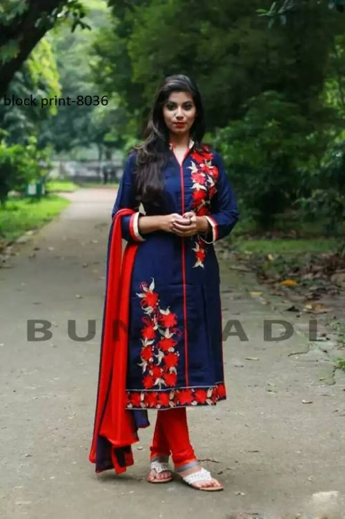 Unstiched block printed cotton replica salwar kameez seblock-8036