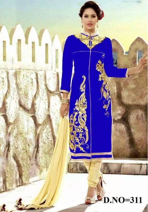 unstiched block printed cotton replica three pcs salwar kameez seblock-403