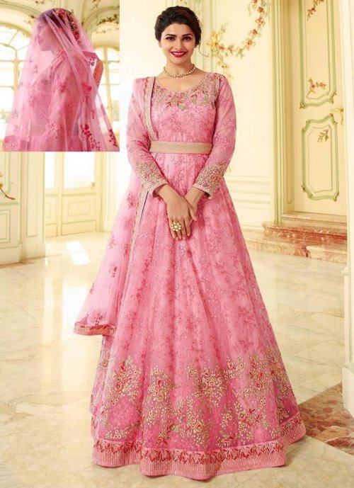 Prachi Desai Style Baby Pink Colour Floor Length Anarkali suit