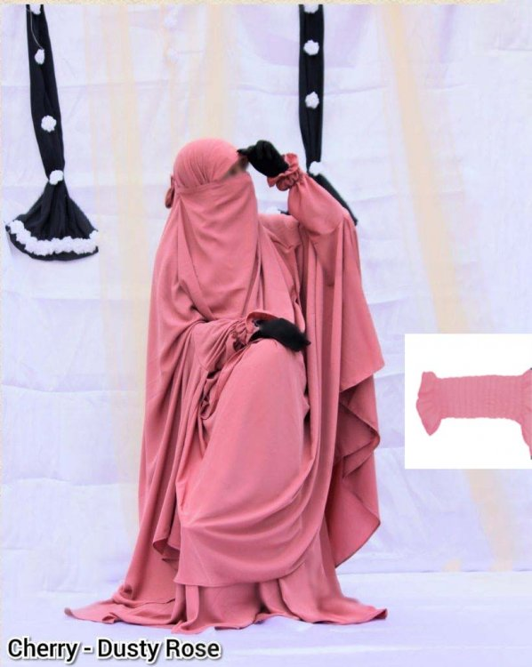 Khimar adjusted niqab with skirt borkha full set for women pv-5 - Click Image to Close