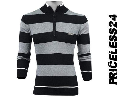 Priceless Zipper Sweater Ash and Black Men;s Winter collection