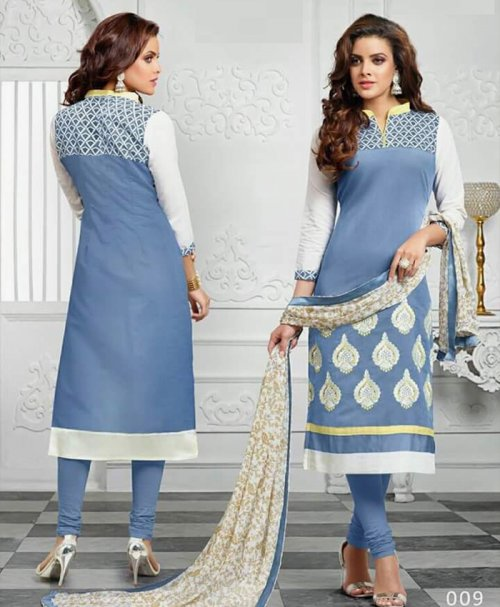 Unstitched Cotton Block Printed Salowar Kameez seblock-334