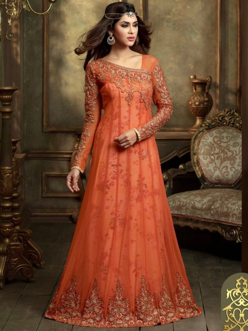 Maskeen Rust Heavy Embroidered Semi Stitched Suit party wear gown
